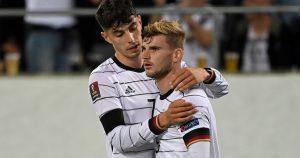 Timo Werner and Kai Havertz celebrate Werner's goal for Germany against Liechtenstein.