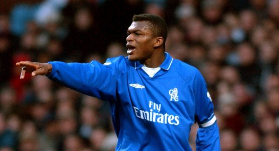 Marcel Desailly points and shouts during a Chelsea away game against Aston Villa in February 2002.