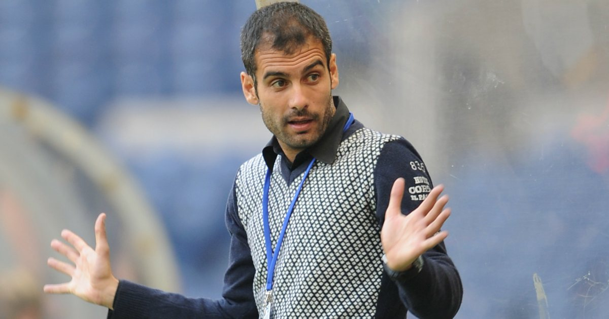 Pep Guardiola, wearing a snazzy jumper, gestures at his assistant during a friendly against Hibs in July 2008.