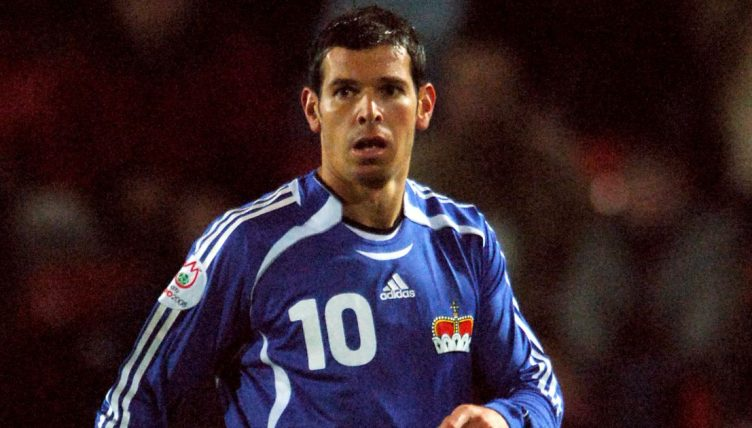 Mario Frick in action for Liectenstein against Wales in 2006.