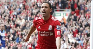 Maxi Rodriguez wheel away in celebration after scoring for Liverpool against Birmingham in 2011.