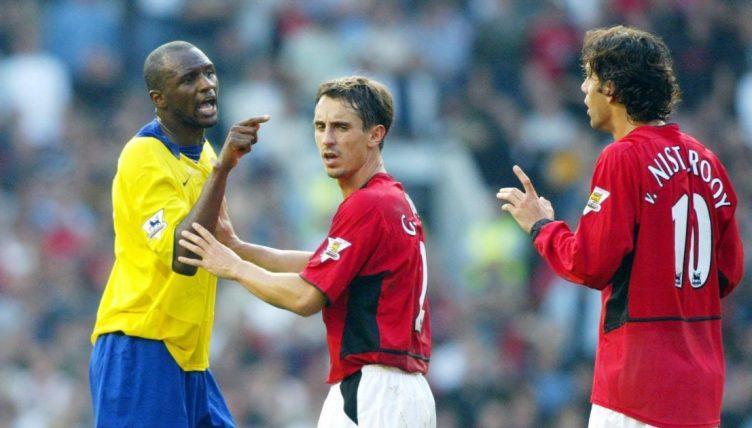 Patrick Vieira, Ruud Van Nistelrooy, Gary Neville, Old Trafford September 2003
