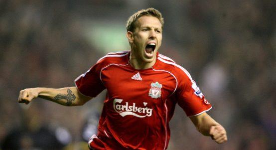Craig Bellamy celebrates scoring for Liverpool.