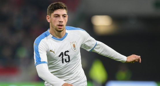 Fede Valverde playing for Uruguay against Hungary.
