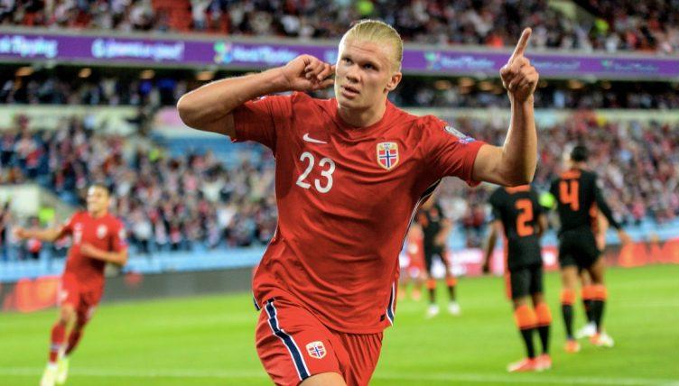 Erling Haaland celebrates Norway goal. Ullevaal Stadion, September 2021.