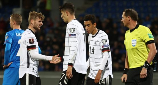 Timo Werner and Kai Havertz celebrate Germany goal
