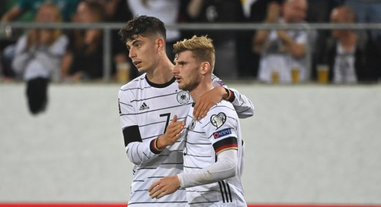 Germany's Timo Werner and Kai Havertz