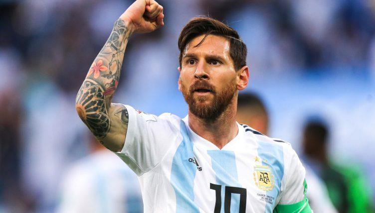 Lionel Messi celebrates scoring against Nigeria at the 2018 World Cup in Russia.
