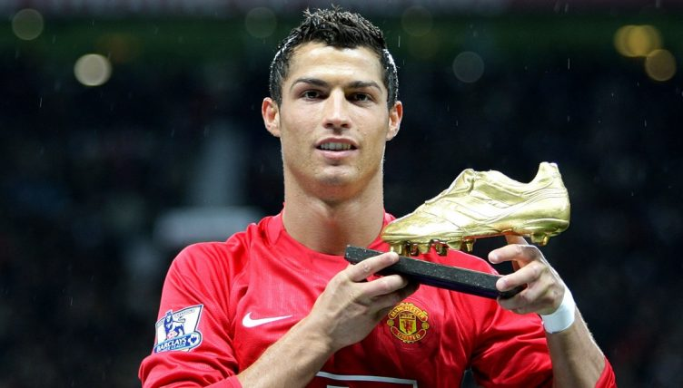 Cristiano Ronaldo presents his European Golden Boot at Old Trafford. October 2008.