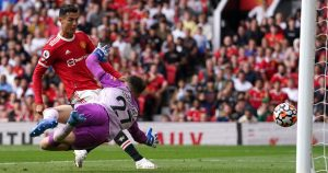 Cristiano Ronaldo scores for Manchester United against Newcastle at Old Trafford. September 11 2021.