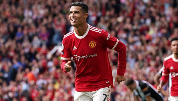 Cristiano Ronaldo celebrates scoring against Newcastle. September 11 2021.