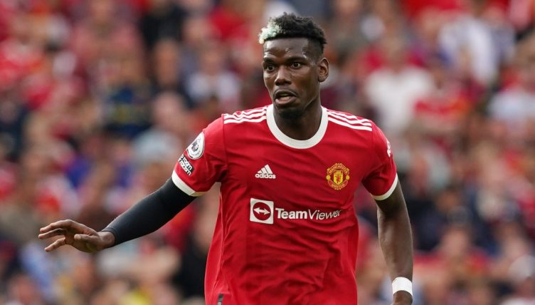 Paul Pogba playing for Manchester United in the Premier League versus Newcastle.