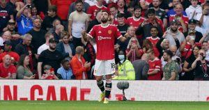 Bruno Fernandes celebrates after scoring for Manchester United, Old Trafford, September 2021.