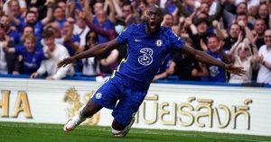 Romelu Lukaku celebrates after scoring for Chelsea . Stamford Bridge, September 2021.