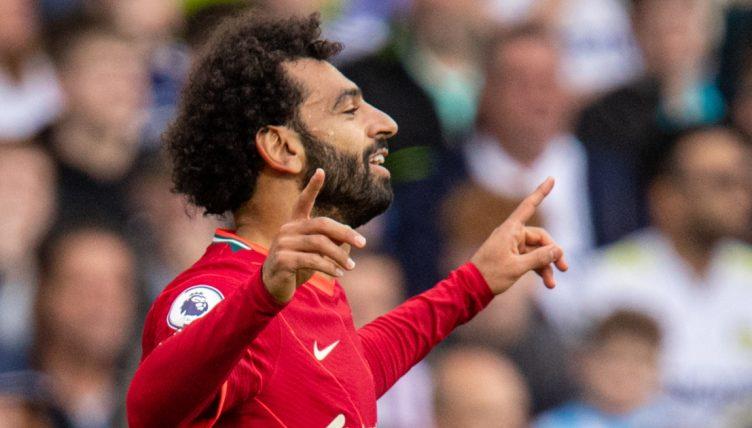 Mohamed Salah celebrates scoring for Liverpool.
