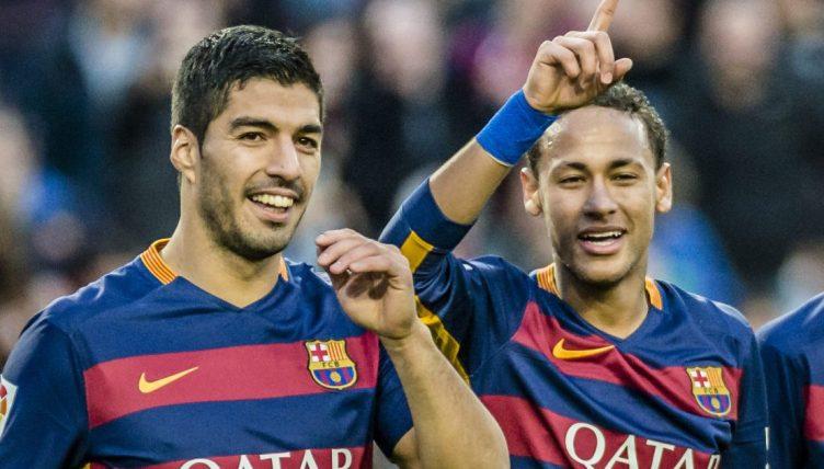 Luis Suarez and Neymar celebrate a Barcelona goal at the Camp Nou. November 2015.