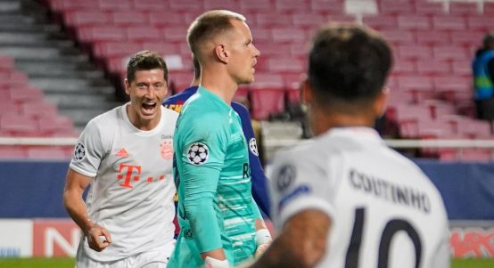 Robert Lewandowski and Philippe Coutinho celebrate scoring for Bayern Munich against Barcelona. August 2020.