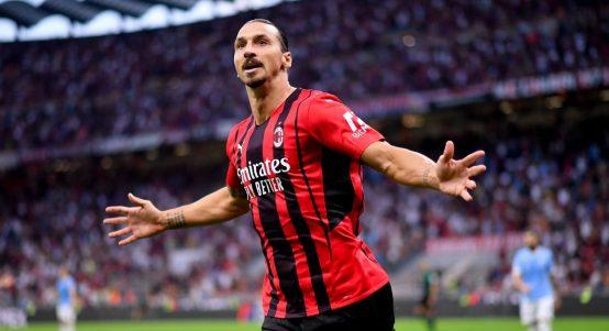 Zlatan Ibrahimovic celebrates scoring for AC Milan against Lazio in Serie A. September 2021.