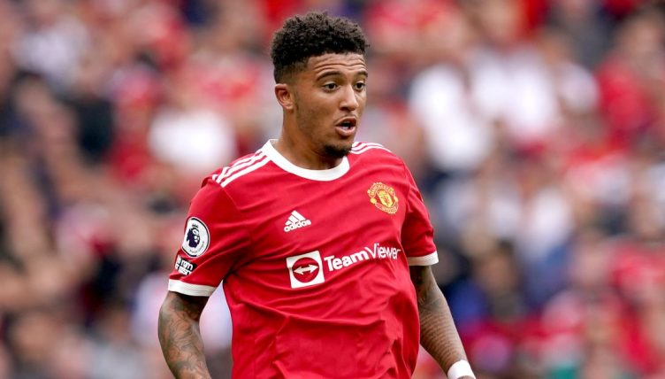 Jadon Sancho in action for Manchester United against Leeds. August 2021.