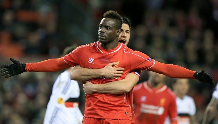 Mario Balotelli celebrates scoring a goal for Liverpool