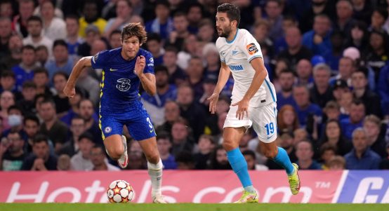 Marcos Alonso battles to regain possession