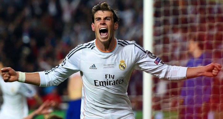 Gareth Bale celebreates scoring in the 2014 Champions League final. May 2014, Lisbon.