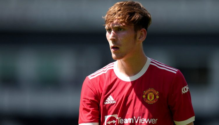 James Garner playing for Manchester United in pre-season. August 2021.