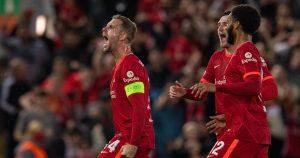 Liverpool captain Jordan Henderson celebrating his winning goal against AC Milan.