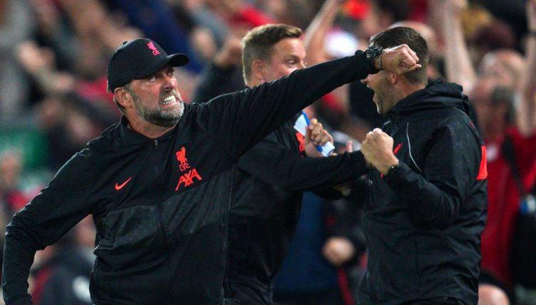 Jurgen Klopp celebrates Liverpool's third goal against AC Milan. September 2021.