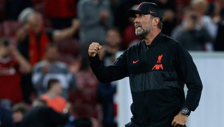 Jurgen Klopp celebrates after Liverpool Champions League victory against AC Milan.