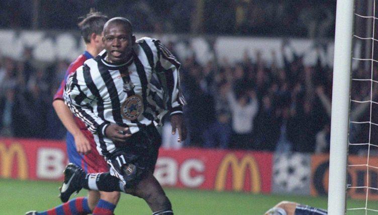 Newcastle United's Faustino Asprilla celebrates after scoring against Barcelona.