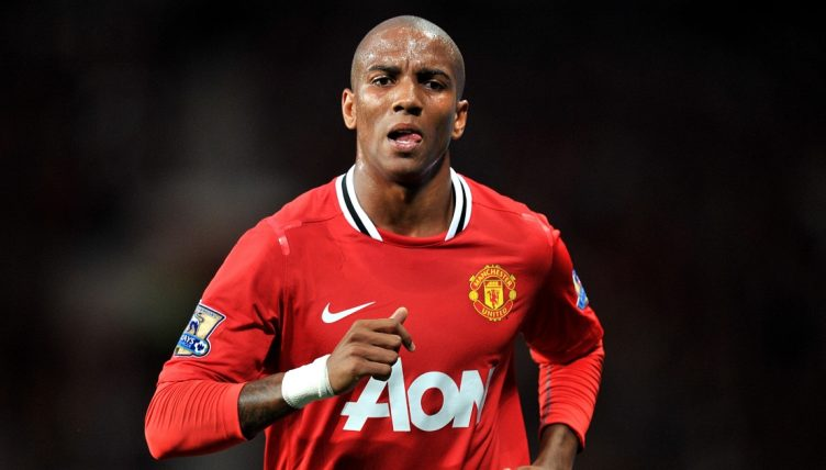 Ashely Young playing for Manchester United.