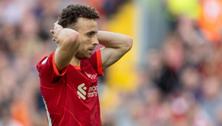 Liverpool's Diogo Jota looks dejected after missing a chance against Chelsea.