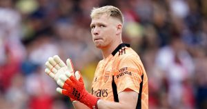 Aaron Ramsdale applauds the Arsenal fans
