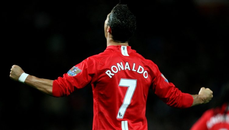 Cristiano Ronaldo celebrates after scoring for Manchester United.