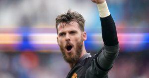 Manchester United's David de Gea celebrates after saving a penalty.