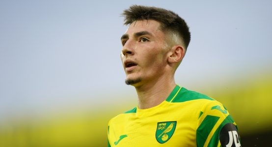 Billy Gilmour during Norwich City's Premier League match against Liverpool.