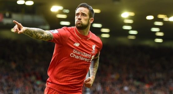 Danny Ings celebrates after scoring for Liverpool.