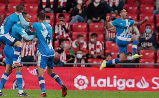 Falcao and Bebe celebrate scoring for Rayo Vallecano