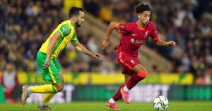 Kaide Gordon goes past Lukas Rupp as Liverpool beat Norwich City.