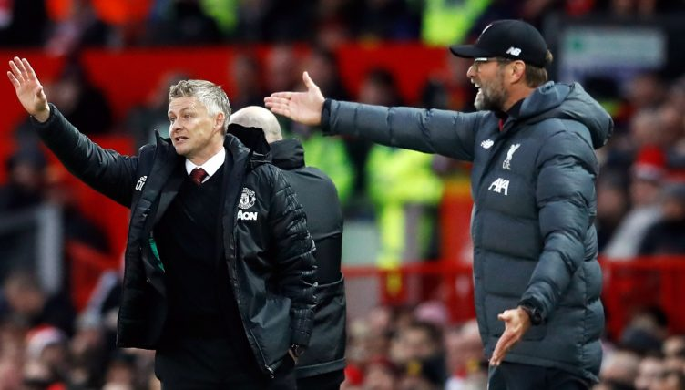 Liverpool manager Jurgen Klopp and Manchester United manager Ole Gunnar Solskjaer