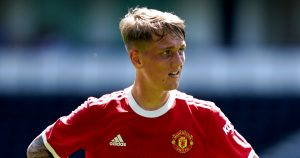 Ethan Galbraith playing for Manchester United.