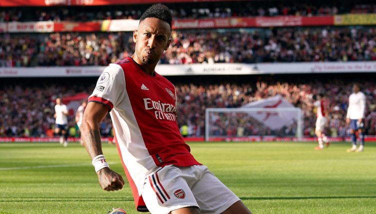 Pierre-Emerick Aubameyang celebrates after scoring against Tottenham.