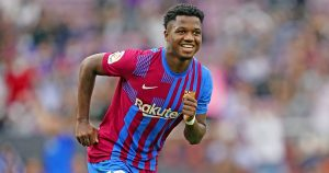 Ansu Fati celebrates Barcelona goal.
