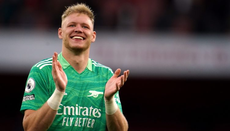 Arsenal goalkeeper Aaron Ramsdale applauds the fans after the Premier League match against Tottenham.