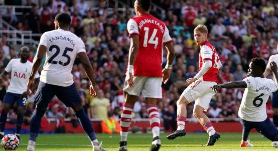 Emile Smith Rowe scores for Arsenal against Tottenham in the Premier League. September 2021.