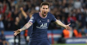 Lionel Messi celebrates after scoring for PSG against Manchester City.