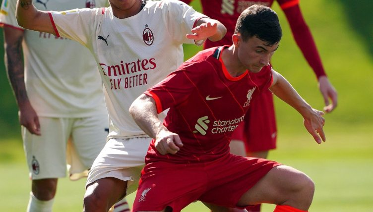 Liverpool's Mateusz Musialowski in action during the UEFA Youth League game against AC Milan