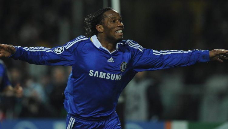 Didier Drogba celebrates scoring for Chelsea against Juventus in the Champions League.
