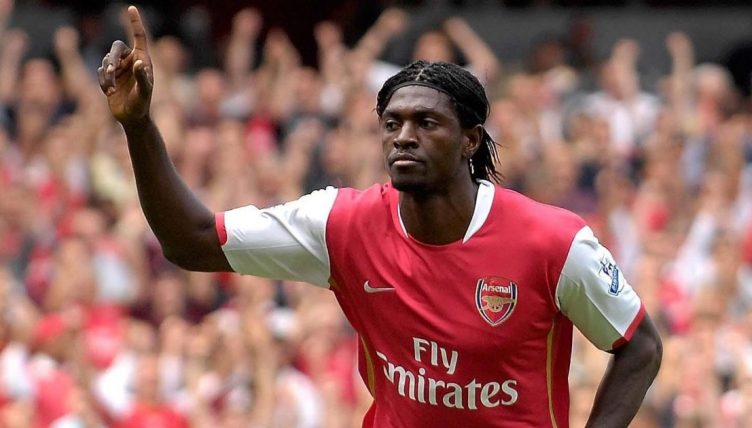 Emmaneuel Adebayor celebrates scoring a penaly for Arsenal. September 2007.